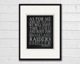 "Oakland Raiders California football inspired Personalized Customized Art Print- ""As for Me"" Parody- Unframed Print"