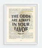 The Odd are always-Psalms 5:12- Bible Page Christian ART PRINT