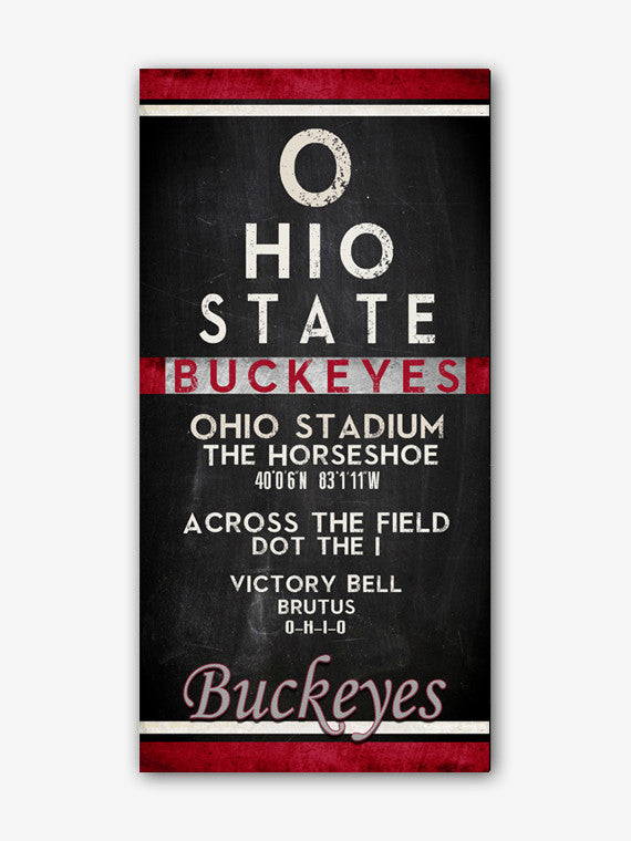 "Ohio State Buckeyes ""Eye Chart"" ART PRINT"