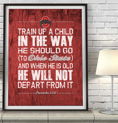 "Ohio State Buckeyes ""Train Up A Child"" ART PRINT"