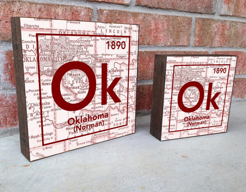 Oklahoma Sooners- Periodic Map art print on Wooden Block