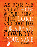 "Oklahoma State Cowboys personalized ""As for Me"" Art Print"
