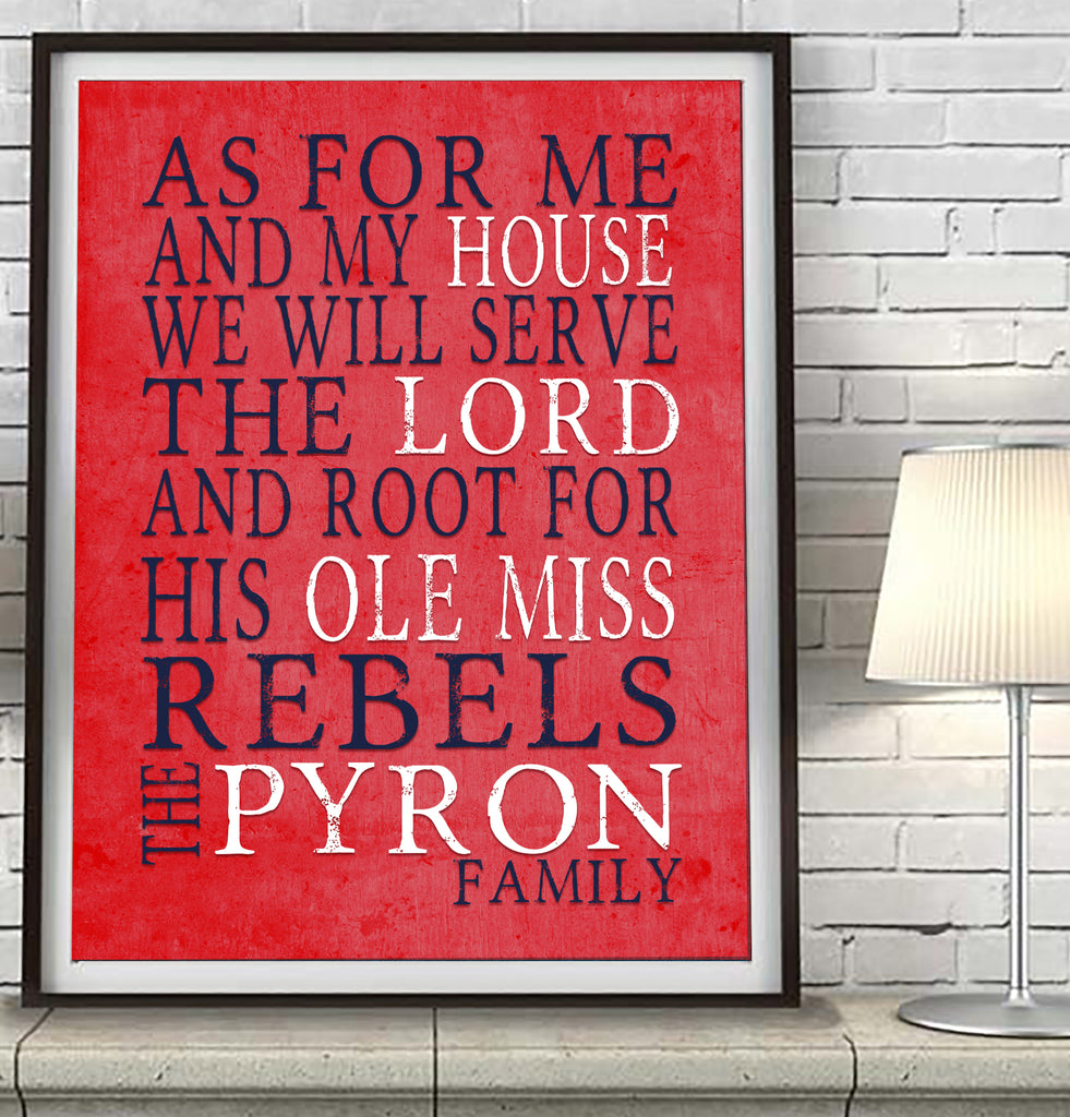 "Ole Miss Rebels Mississippi personalized ""As for Me"" Art Print"