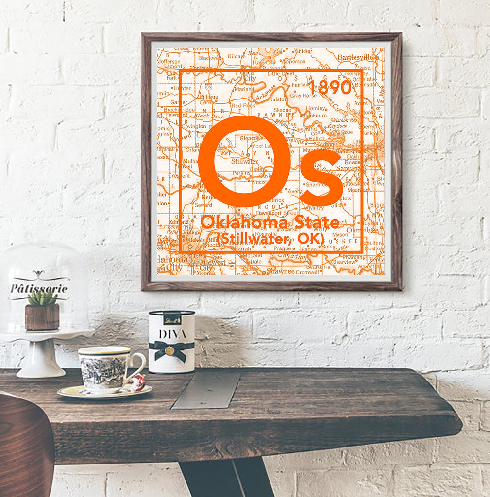 Oklahoma State Cowboys- Stillwater Ok- Vintage Periodic Map ART PRINT
