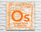 Oregon State Beavers- Periodic Map art print on Wooden Block