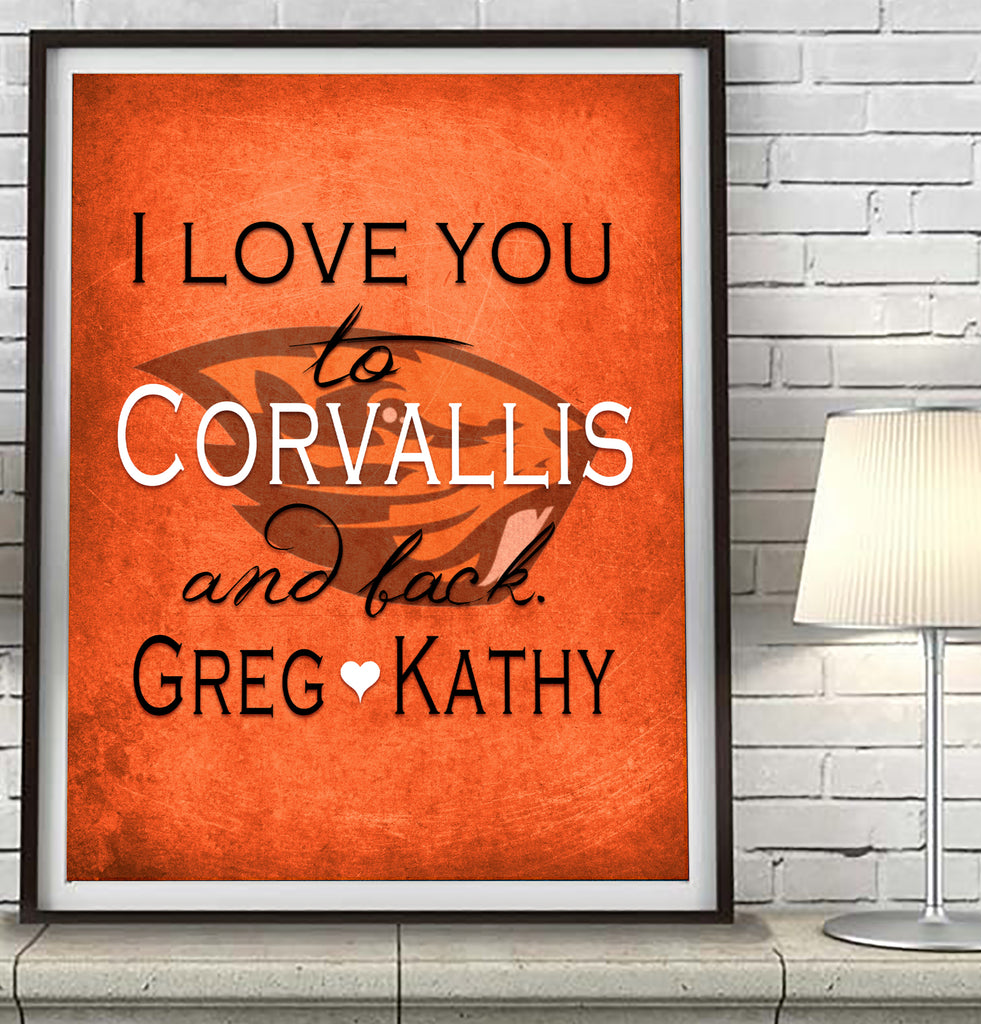 Oregon State Beavers-I Love You to Corvallis and Back-Art Print Poster Gift