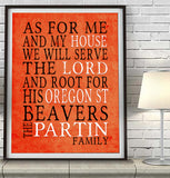 "Oregon State Beavers personalized ""As for Me"" Art Print"