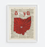 Ohio State University OSU Buckeyes inspired Phonics/Phonetic ART PRINT Using Old Dictionary Pages, Unframed