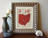 Ohio State University OSU Buckeyes Phonetic Art Print - Christmas poster gift