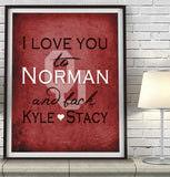 Oklahoma Sooners-I Love You to Norman and Back-Art Print Poster Gift