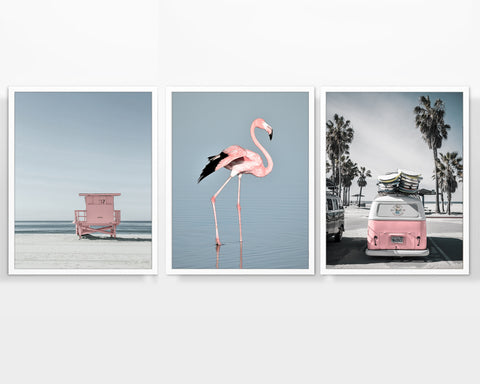 Pink Themed Coastal Photography Prints, Set of 3, Coastal Wall Decor