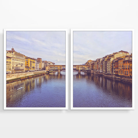 Vintage Florence Italy Ponte Vecchio Bridge Photography Prints, Set of 2, Firenze Italian Wall Decor