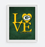 "Green Bay Packers ""Love"" ART PRINT, Sports Wall Decor, man cave gift for him, Unframed"