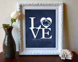 "Penn State  inspired ""Love"" ART PRINT, Sports Wall Decor, man cave gift for him, Unframed"