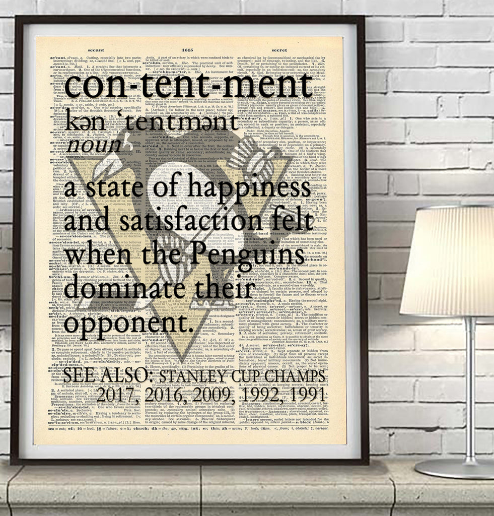 "Pittsburgh Penguins dictionary ""Contentment"" Art Print - Christmas poster gift"
