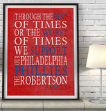 "Philadelphia Phillies Baseball Personalized ""Best of Times"" Art Print Poster Gift"