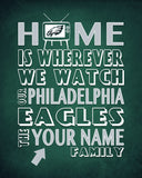 "Philadelphia Eagles inspired Personalized Customized Art Print- ""Home Is"" Parody- Retro, Vintage-  Unframed Print"