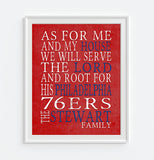 "Philadelphia 76ers basketball inspired Personalized Customized Art Print- ""As for Me"" Parody- Unframed Print"