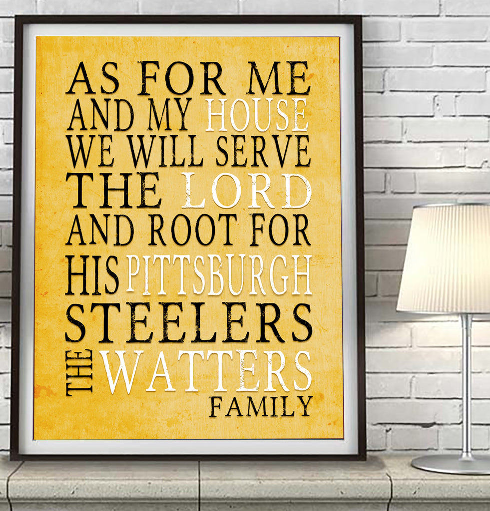 "Pittsburgh Steelers Personalized ""As for Me"" Art Print"