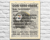 "Pittsburgh Steelers inspired ""Contentment"" ART PRINT Using Old Dictionary Pages, Unframed"