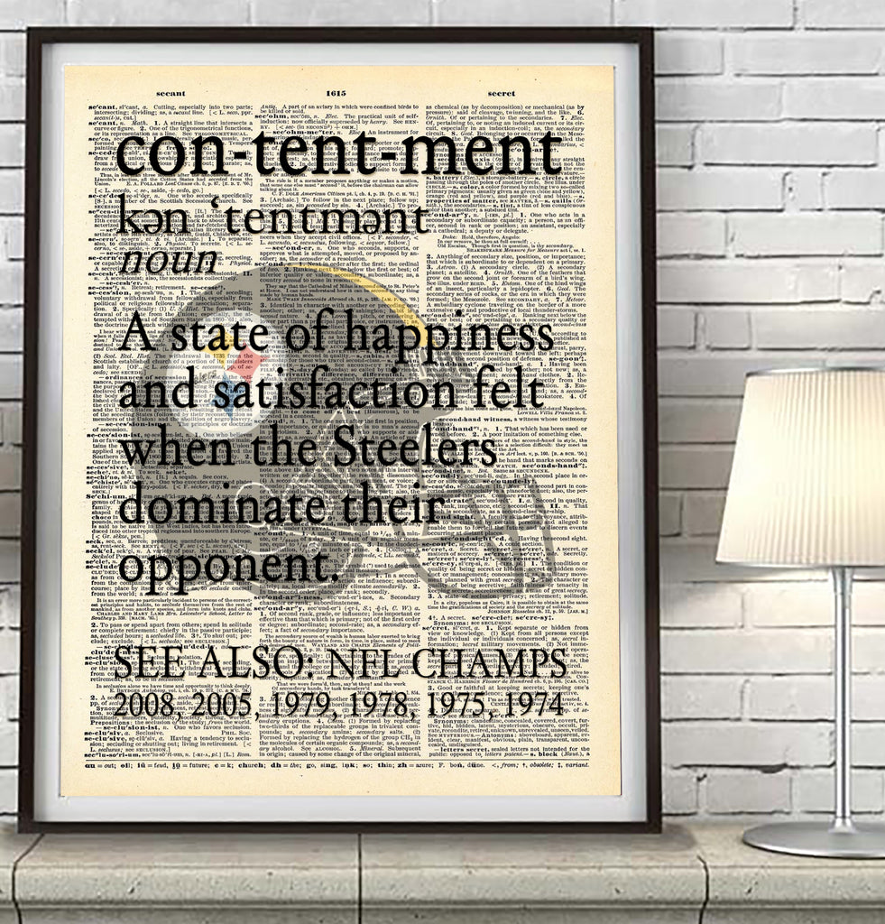 "Pittsburgh Steelers dictionary ""Contentment"" Art Print - Christmas poster gift"