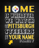 "Pittsburgh Steelers inspired Personalized/Customized Art Print- ""Home Is"" Parody- Retro, Vintage-  Unframed Print"