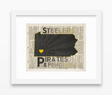 Pittsburgh Steelers Pirates Penguins inspired Art Print on old Dictionary Pages, Unframed