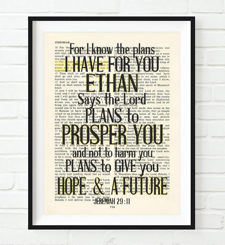 For I know the Plans-Jeremiah 29:11 Personalized Bible Page ART PRINT