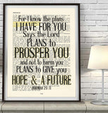 For I know the plans- Jeremiah 29:11 -Vintage Bible Highlighted Verse Scripture Page- Christian Wall ART PRINT