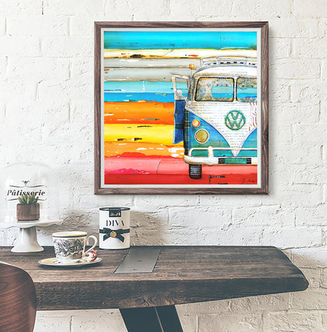 Playing Hooky - VW Volkswagen Bus at the Beach - Mixed Media Collage -Danny Phillips Fine Art Print