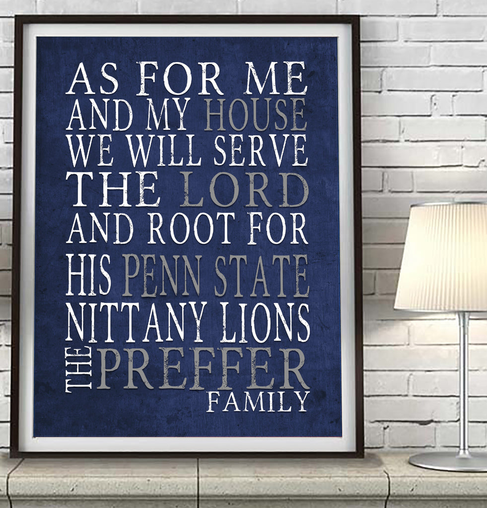 "Penn State Nittany Lions personalized ""As for Me"" Art Print"