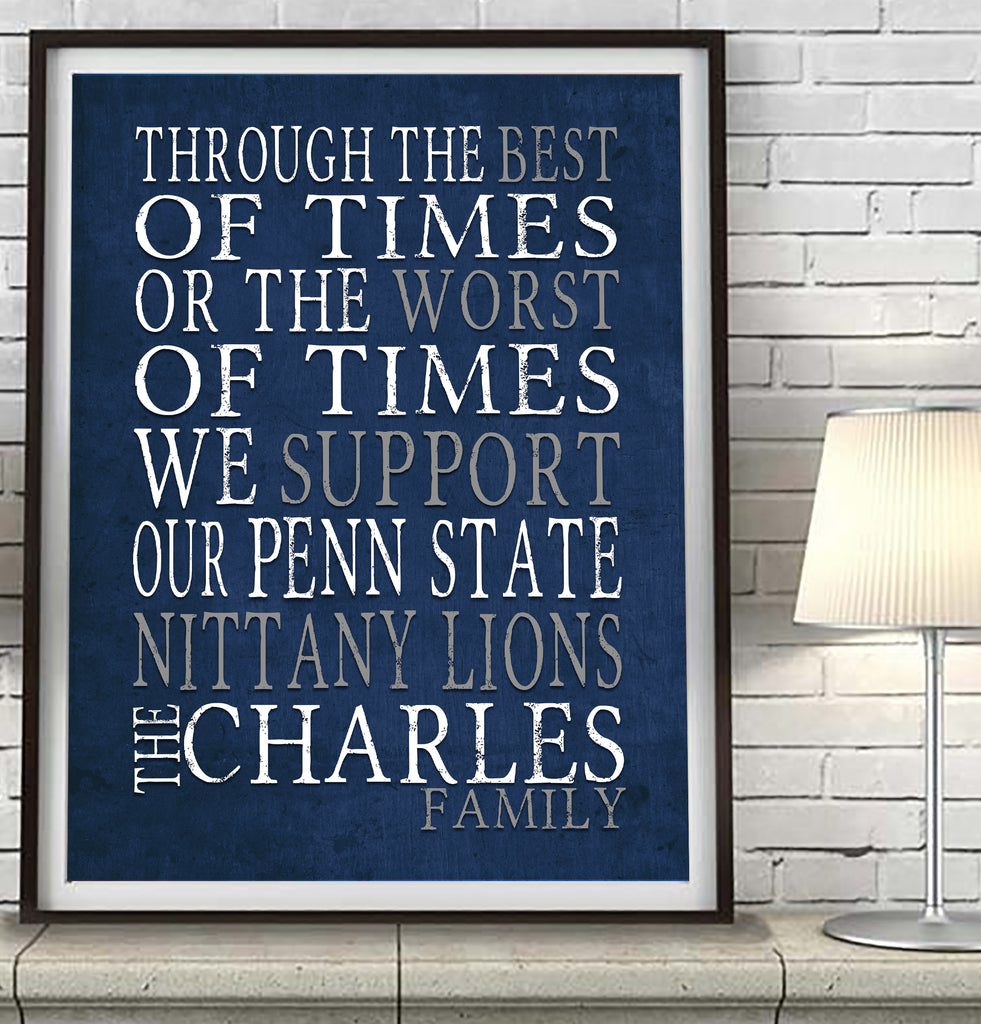 "Penn State Nittany Lions Personalized  ""Best of Times"" Art Print Poster Gift"