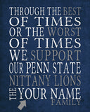 "Penn State Nittany Lions Personalized Art Print- ""Best of Times"" Dickens Parody- Unframed"