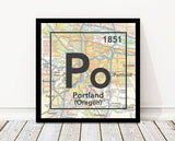 Portland Oregon Po- Periodic Map ART PRINT