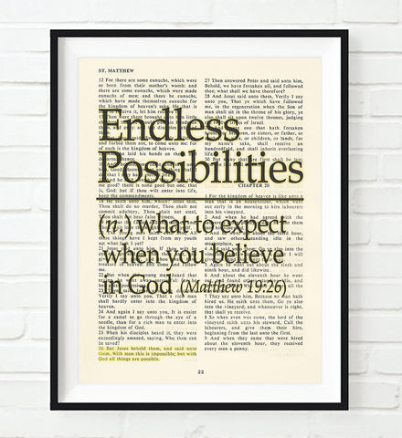 Endless Possibilities - Matthew 19:26 - Vintage Bible Highlighted Verse Scripture Page- Christian Wall ART PRINT