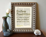 Endless Possibilities - Matthew 19:26 - Bible Page Christian ART PRINT