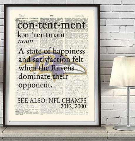 "Baltimore Ravens inspired ""Contentment"" ART PRINT Using Old Dictionary Pages, Unframed"