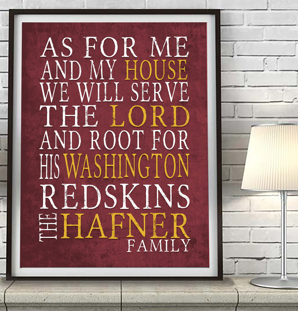 "Washington Redskins Personalized ""As for Me"" Art Print"