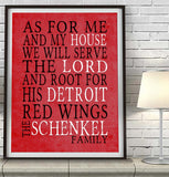 "Detroit Red Wings hockey Personalized ""As for Me"" Art Print"