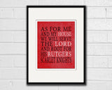 "Rutgers Scarlet Knights Customized Art Print- ""As for Me"" Parody- Unframed Print"