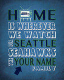 "Seattle Seahawks inspired Personalized Customized Art Print- ""Home Is"" Parody- Retro, Vintage-  Unframed Print"