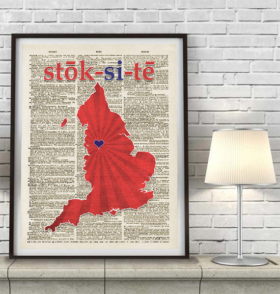 Stoke City - The Potters - Inspired Phonics/Phonetic ART PRINT Using Old Dictionary Pages, Unframed