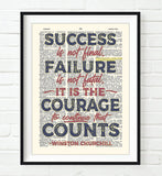 It is the Courage to Continue that Counts - Winston Churchill Quote - Dictionary Art Print