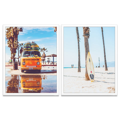Antique Classic Volkswagen Vw Van Bus and Surfboards Photography Prints, Set of 2