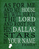 "Dallas Stars hockey Personalized ""As for Me"" Art Print"