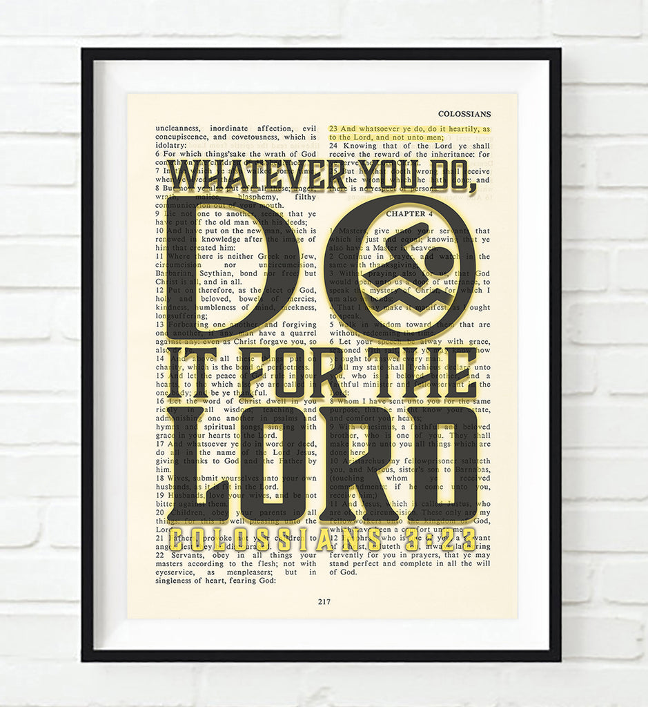 Whatever you do- Swimming- Colossians 3:23 Bible Page Christian Art Print Poster Gift
