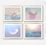 Sea Creatures Photography Prints, Set of 4, Nautical Wall Decor