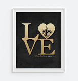"New Orleans Saints football ""Love"" ART PRINT, Sports Wall Decor, man cave gift for him, Unframed"