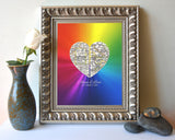 Gay & Lesbian Custom Wedding Heart 2 Map Locations -  LGBT Community Couples - Engagement- Anniversary gift UNFRAMED ART PRINT