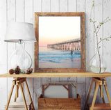 Sunrise Surfer at Beach by the Pier Dock Boardwalk Photography Print, Coastal Wall Decor